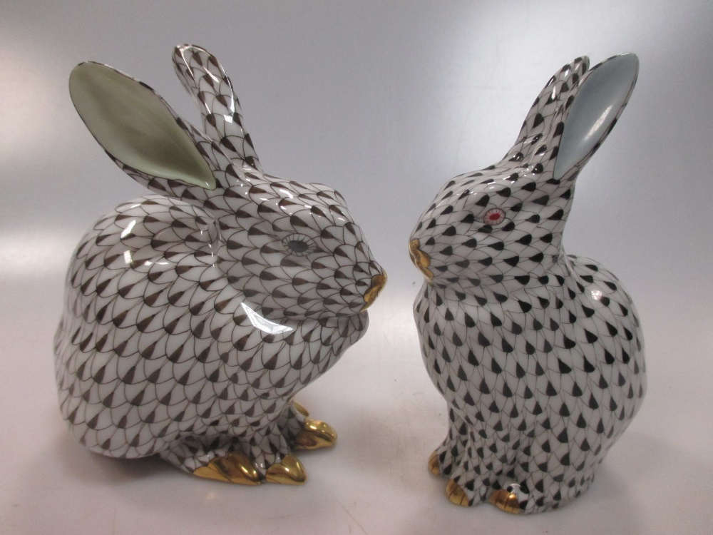 Lot 261 - Herend: four porcelain rabbit figurines of varing size. Provenance: Purchased from Mappin & Webb,