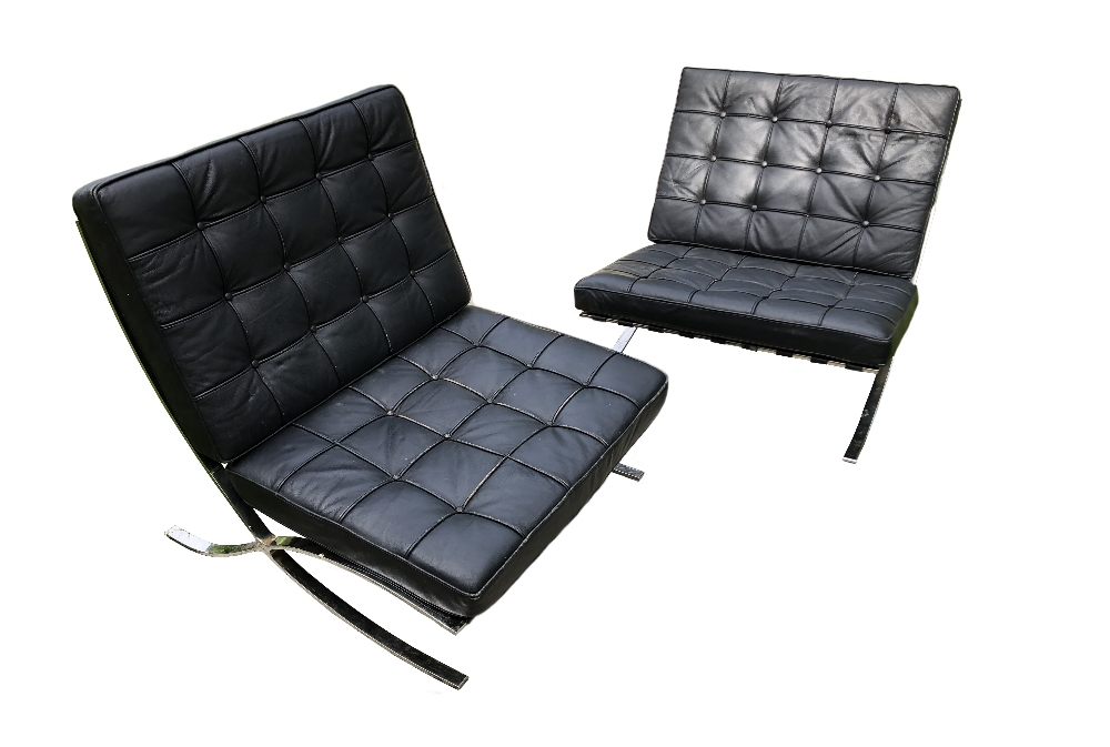 Lot 662 - After Ludwig Mies Van Der Rohe, a pair of Barcelona type chairs, the chromed frames with black