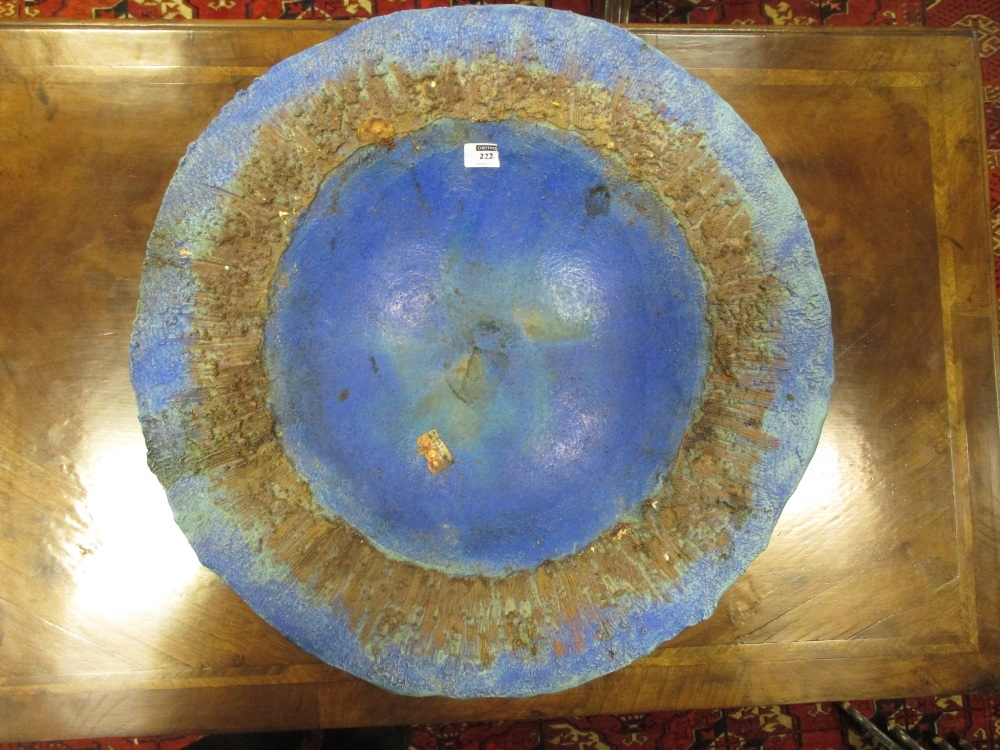 Lot 222 - Sheila Dobson, (British, 20th century), a large studio pottery charger, of rough circular form