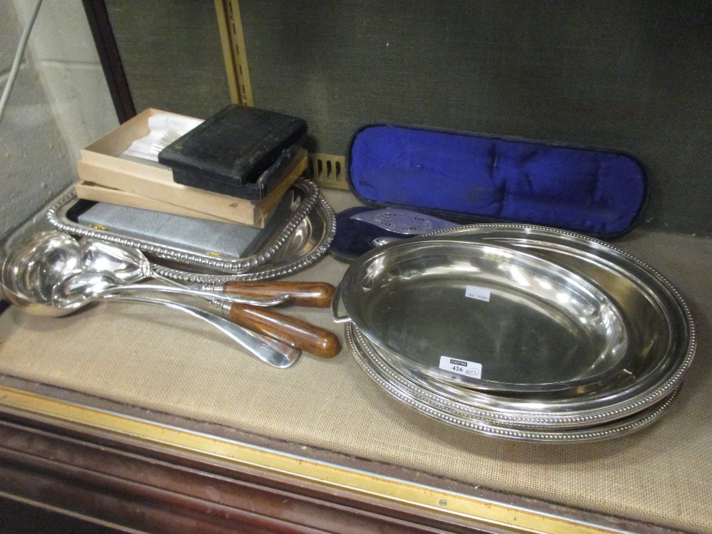 A large collection of silver plated ware to include entree dishes, trays, bottle coaster, - Image 2 of 2
