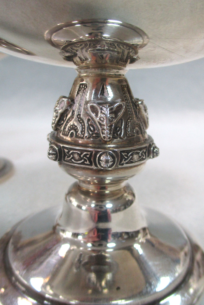 A pair of 20th century silver salts, each of deeply dished navette form and raised on a circular - Image 3 of 4