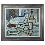 § Sidney Horne Shepherd (Scottish, 1909-1993) Still life with a fish and bottle oil on canvas 49 x
