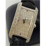 18ct GOLD CARTIER STYLE WATCH SET WITH DIAMONDS & RUBIES