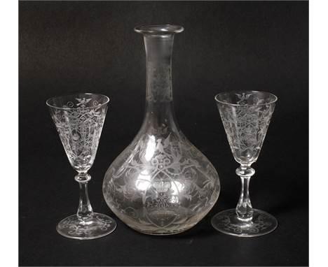 Fürstliches Likörset2. Hälfte 19. Jh., in der Art von Lobmeyr Wien, unsigniert, zartes farbloses Glas mit feinem aufwendigen