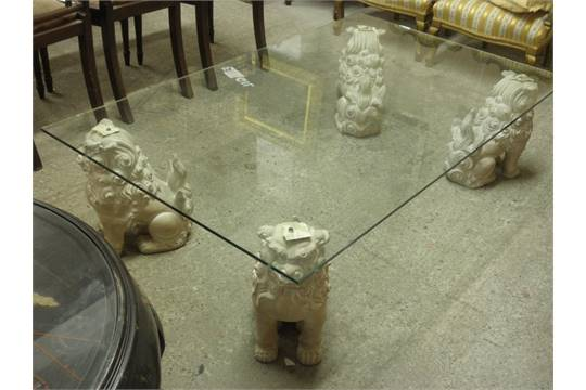 20thC glass-top coffee table with composite Chinese lion-dog legs, 60 x  36ins - 20thC Glass-top Coffee Table With Composite Chinese Lion-dog Legs