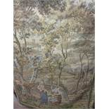 Machine woven tapestry wall hanging depicting figures in a landscape