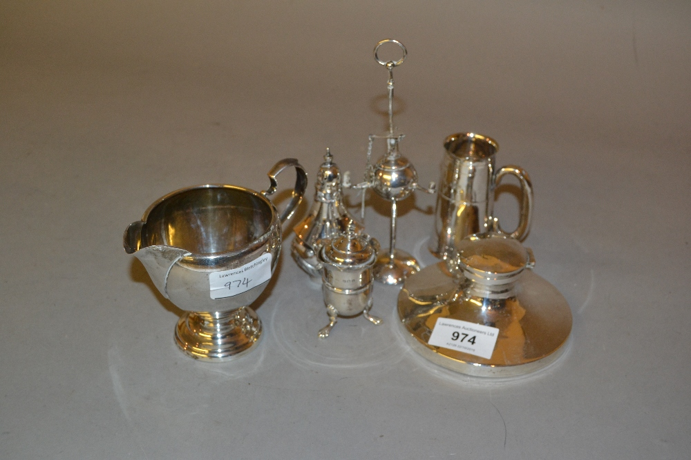 Lot 974 - Silver capstan inkwell, sterling silver jug, silver tot measure, two silver condiments and a
