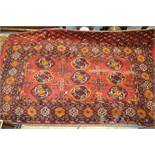 Afghan prayer rug, together with another Afghan rug