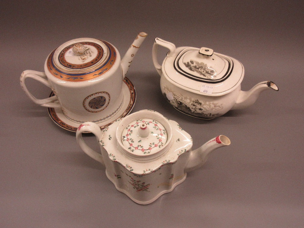 Lot 679 - Large 18th Century Newhall type teapot with cover (at fault), together with a matching plate, 19th