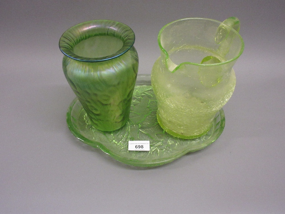 Lot 698 - 20th Century green iridescent glass vase, green glass jug and a dressing table tray