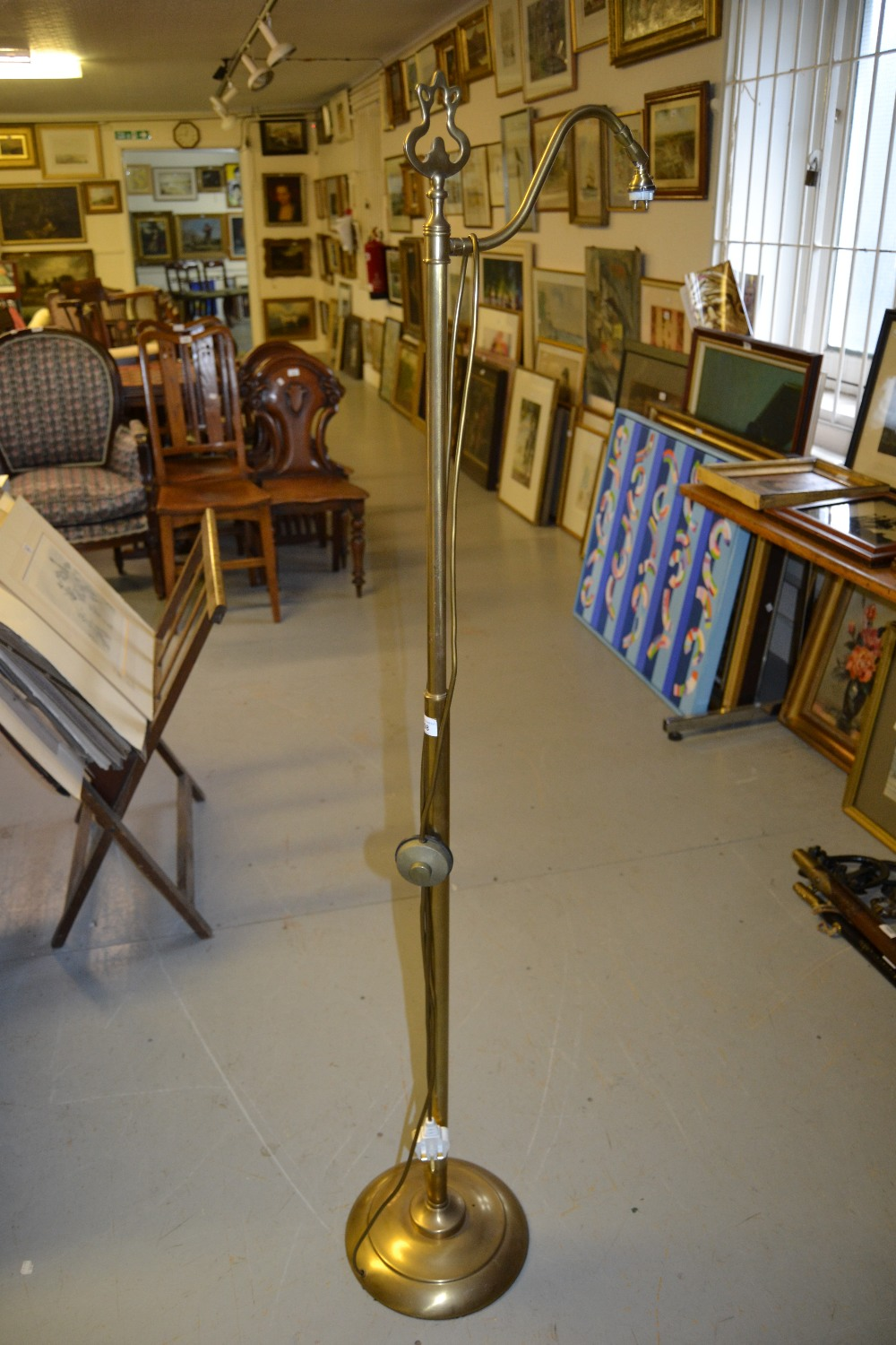 Lot 1598 - Modern brass standard lamp with brushed finish