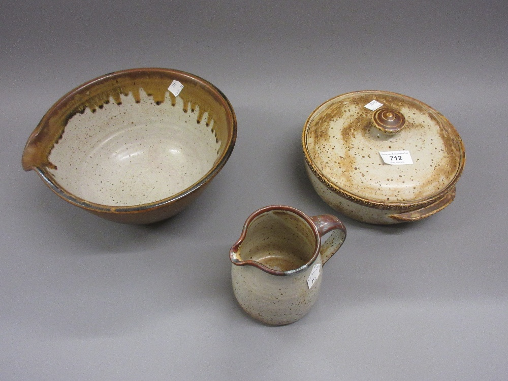 Lot 712 - Michael Leach Yelland pottery two handled dish and cover, a bowl and a small jug (handle restored)