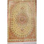 Small Turkish silk rug of Qum design, approximately 36ins x 22ins general good condition