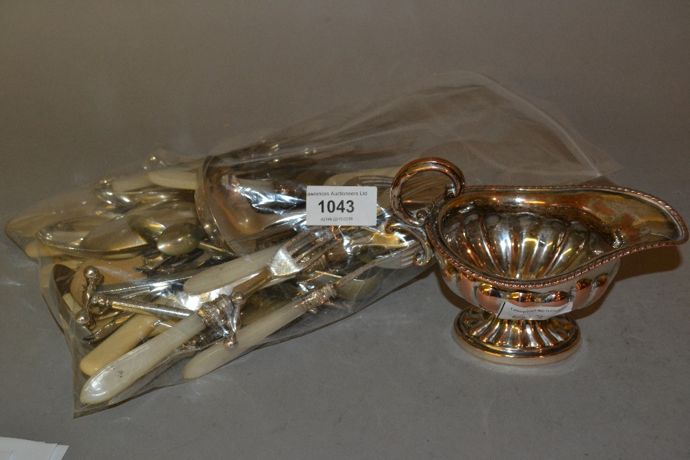 Lot 1043 - 19th Century plate on copper cream jug, quantity of mother of pearl handled dessert knives and other