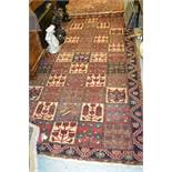 Baktiari style rug with all-over panel design in shades of red, ivory and blue, 118ins x 60ins