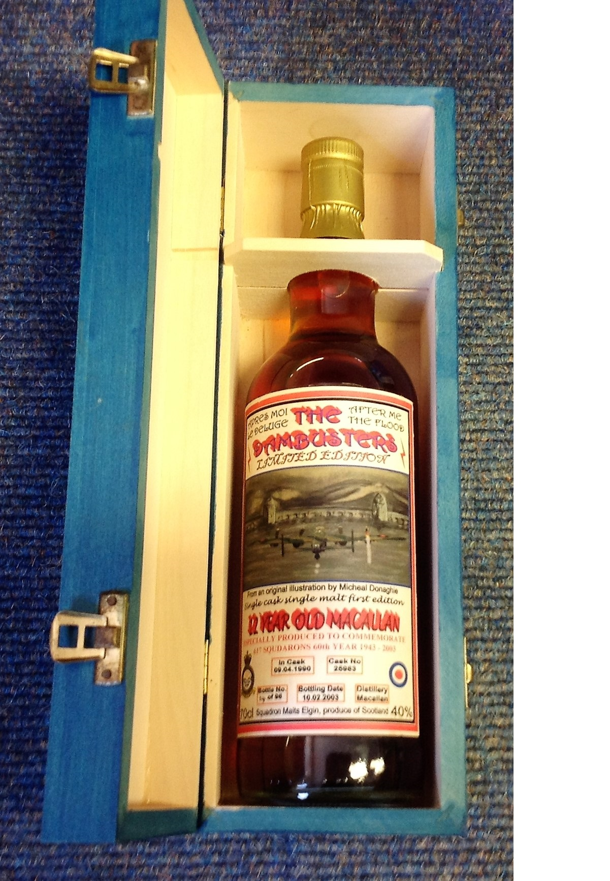 Lot 42 - Dambusters Limited Edition Macallan Bottle of single malt whiskey housed in wooden case signed.