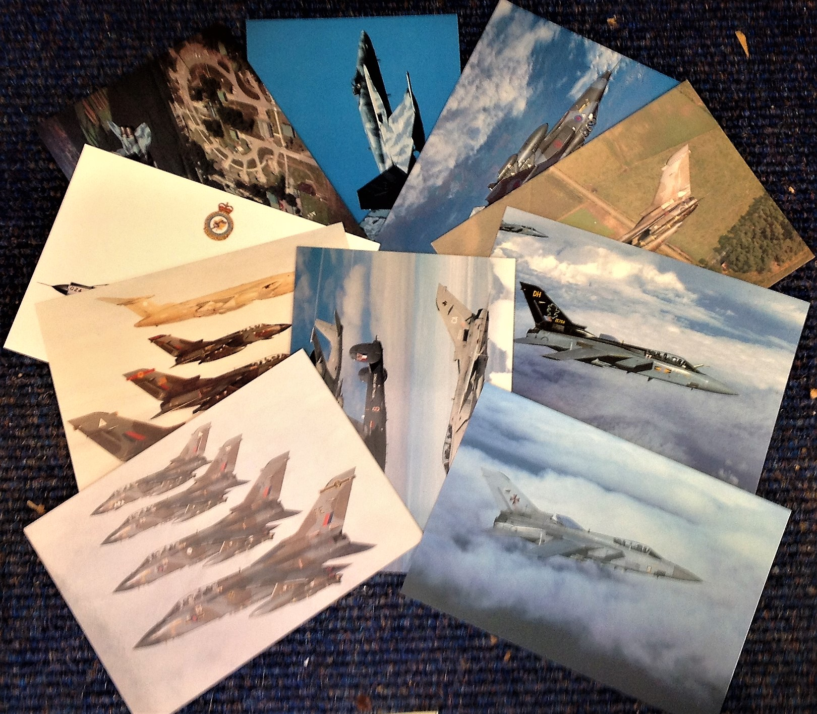 Lot 12 - Aviation postcard collection includes 10 squadron print cards such as Canadian CF-18 Tiger Bird