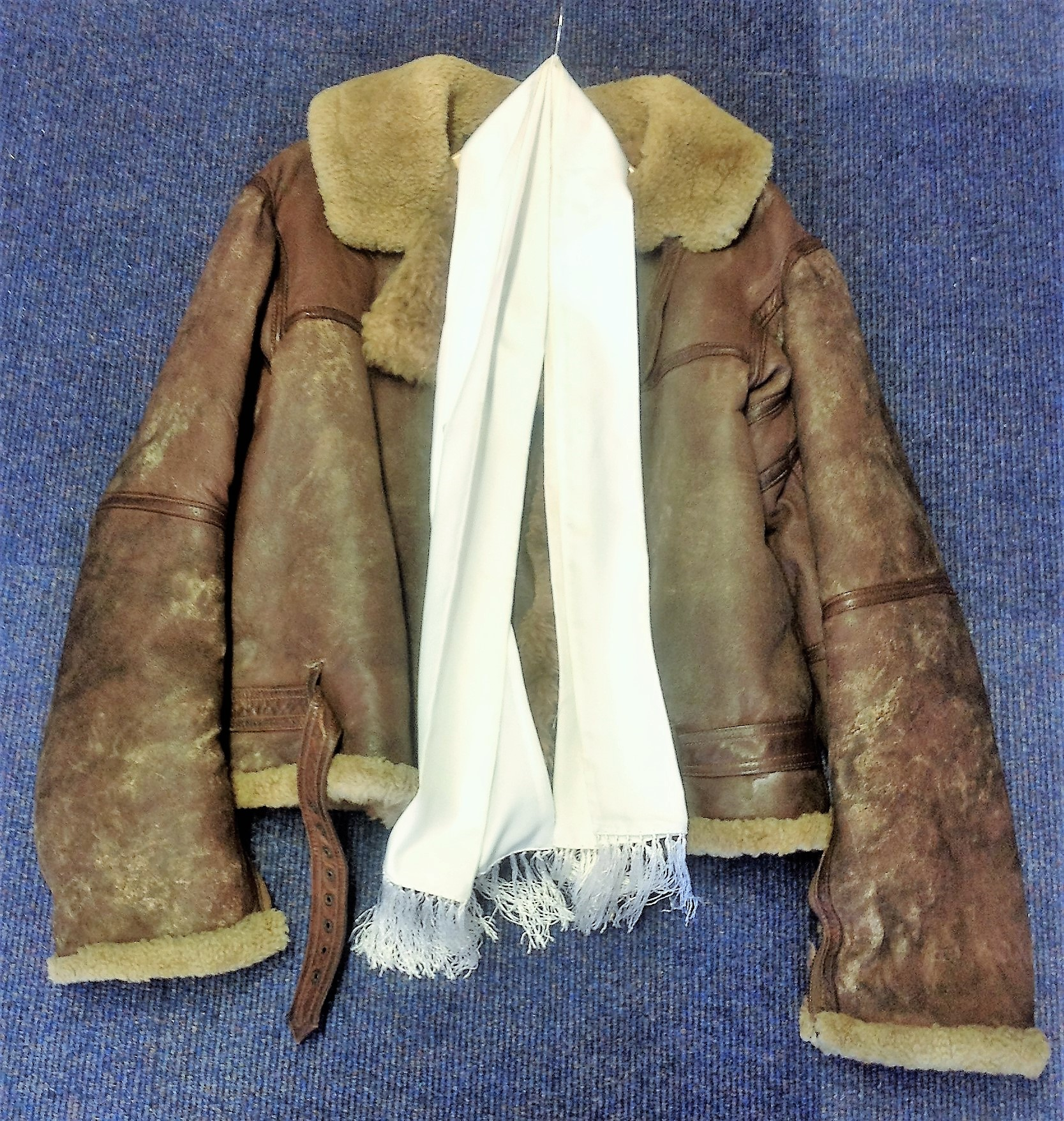 Lot 59 - Tirpitz raider WW2 RAF bomber Leather flight Jacket and white silk scarf owned by Warrant Officer.