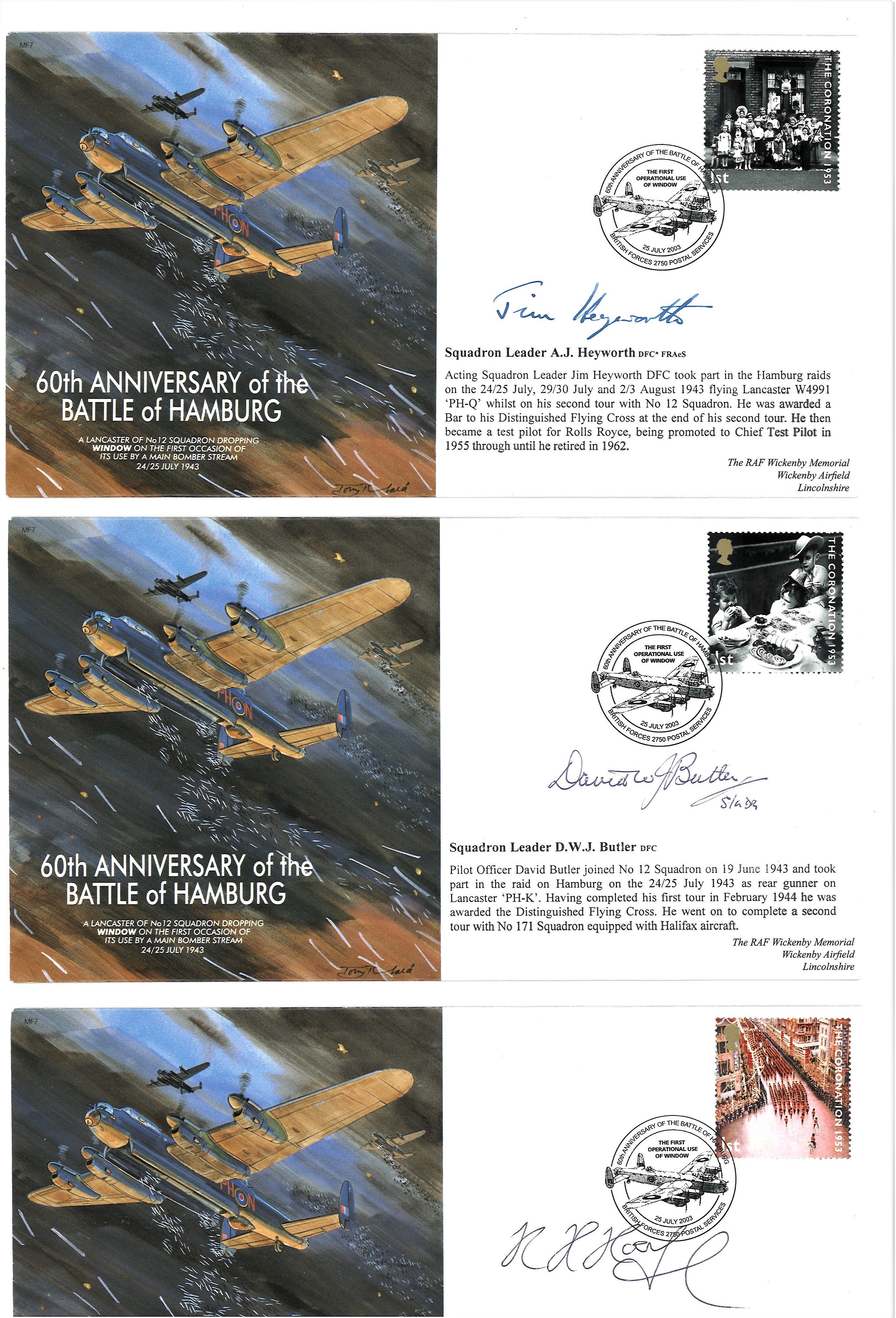 Lot 15 - Three WW2 Lancaster veterans cover collection. Three RAF flown covers produced in 2003 to