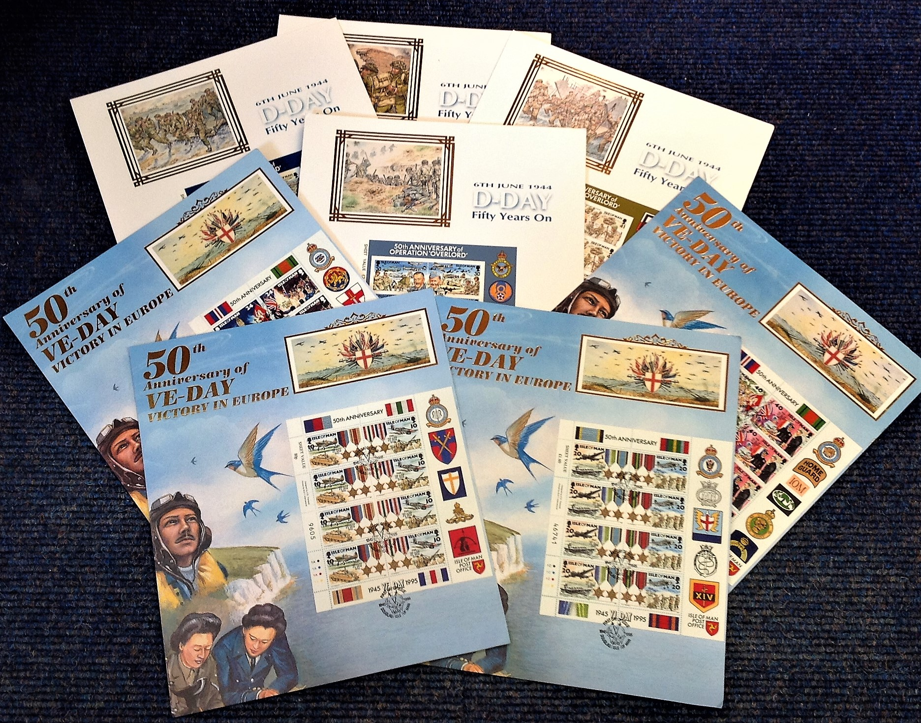 Lot 4 - World War Two commemorative stamp sheet collection includes 6 sheets 50th Anniversary of Operation