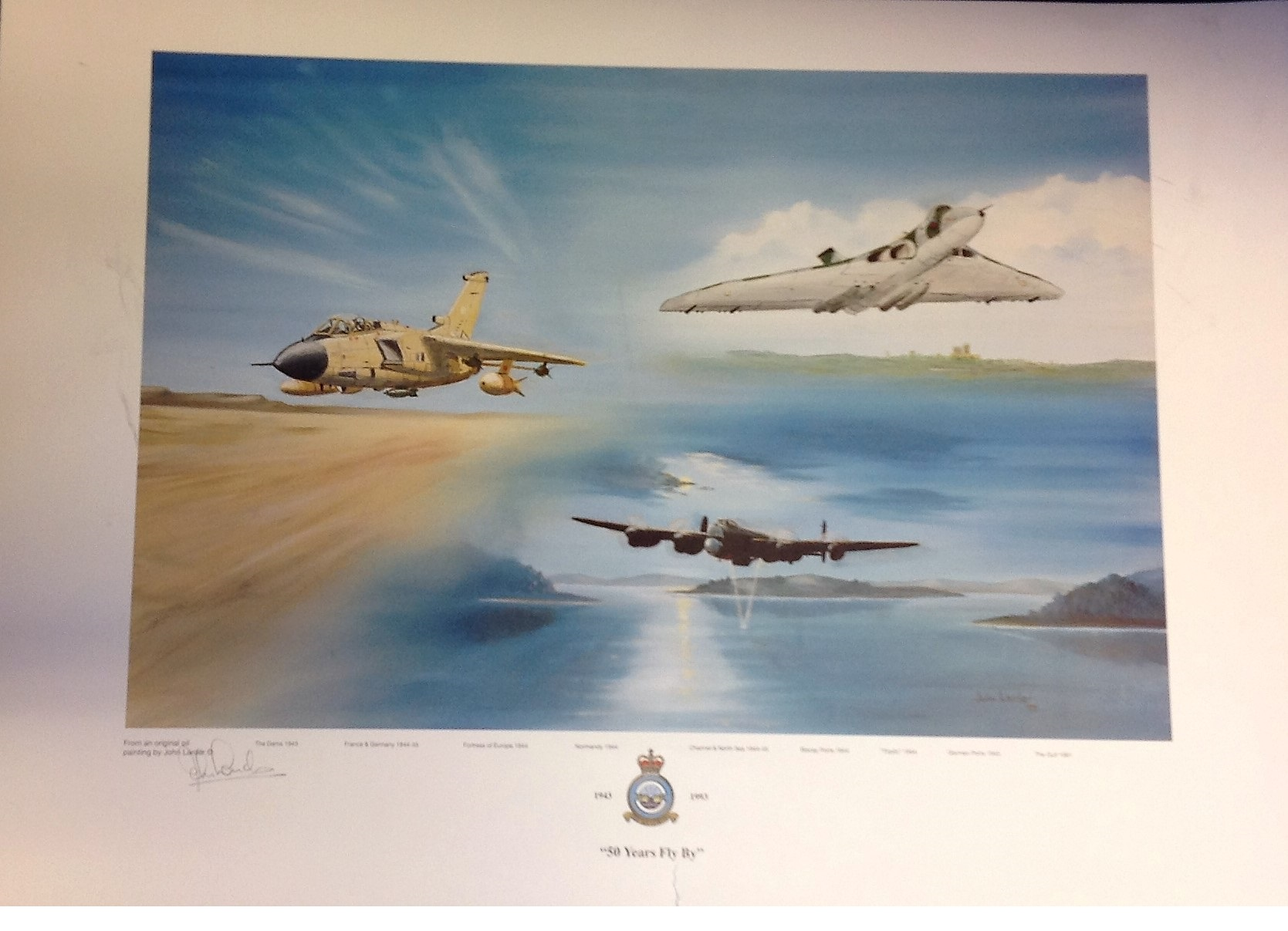 """Lot 116 - RAF association print approx 18x26 titled """"50 YEARS FLY BY"""" by the artist John Larder signed in"""