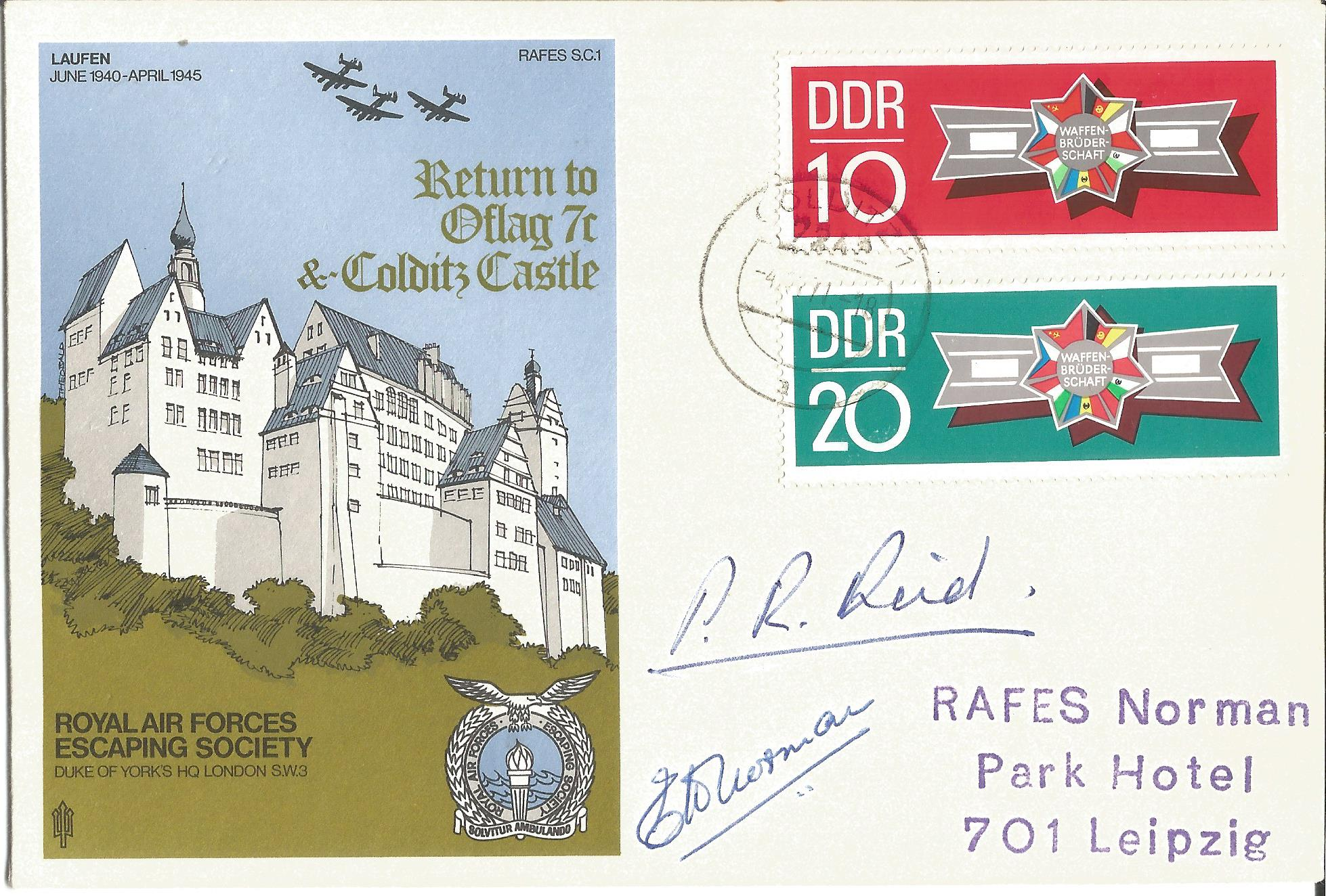 Lot 69 - Pat Reid rare 2 DDR stamp variety signed Escape from Colditz Castle RAF WW2 cover RAFES SC1. Good