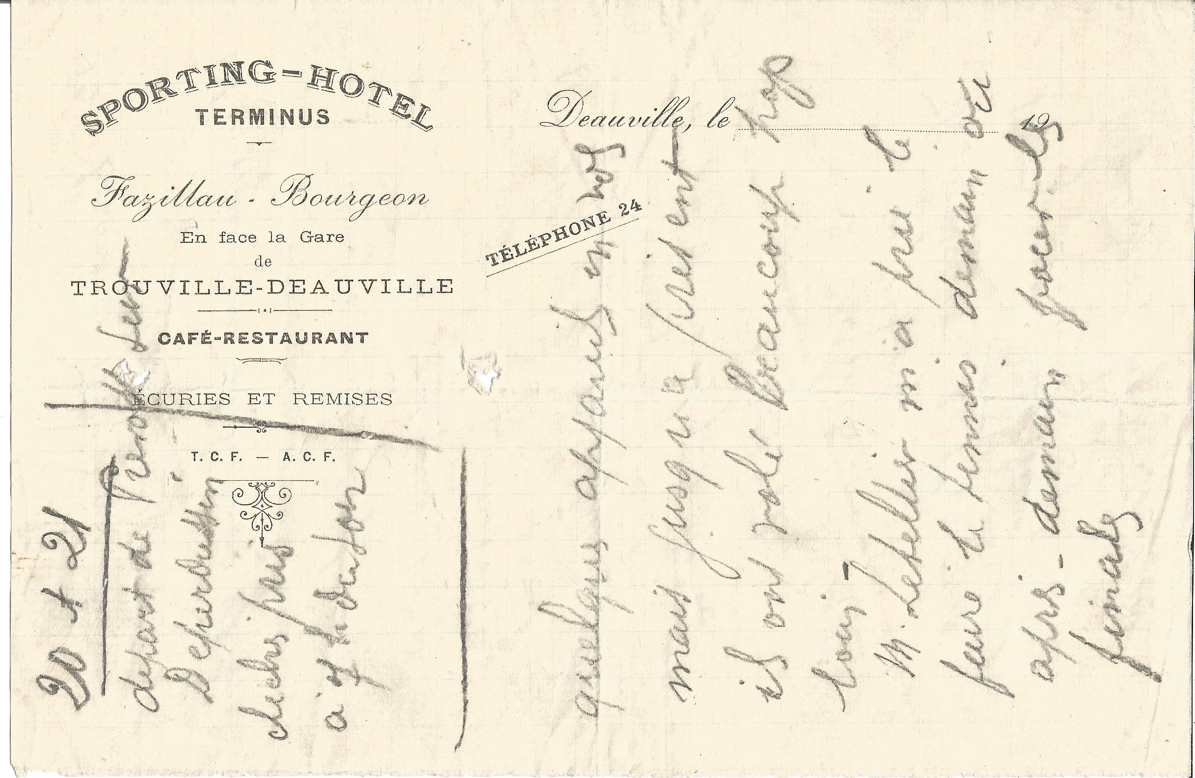 Lot 52 - Great War Sporting Hotel Trouville hand written dinner menu. Good condition Est.
