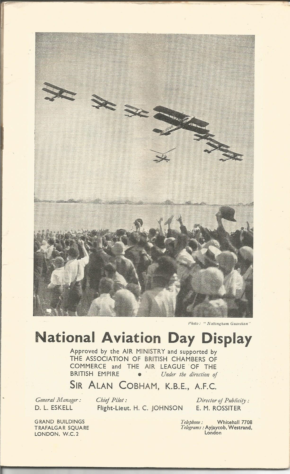 Lot 50 - 1934 Alan Cobham National Aviation Day Programme. Good condition Est.