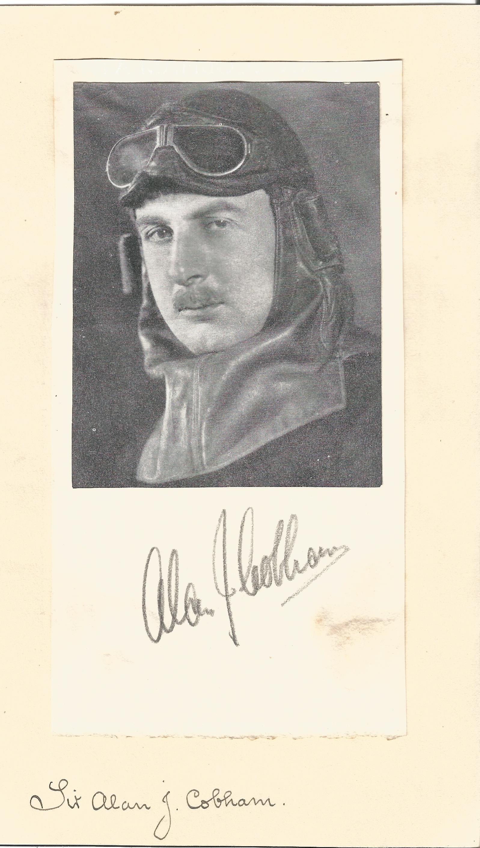 Lot 48 - Alan Cobham autograph mounted with b/w magazine photo. Good condition Est.