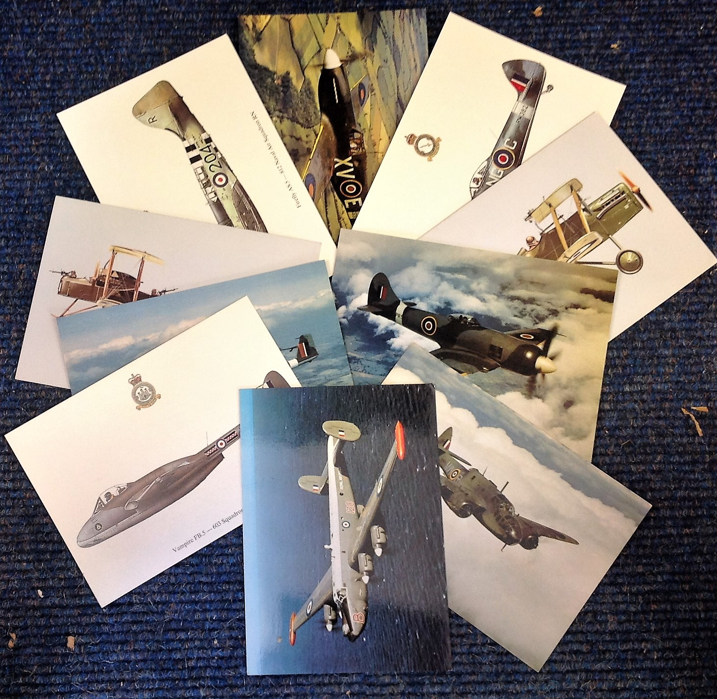 Lot 9 - Aviation postcard collection includes 10 squadron print cards such as Spitfire L. F. 16E-604,