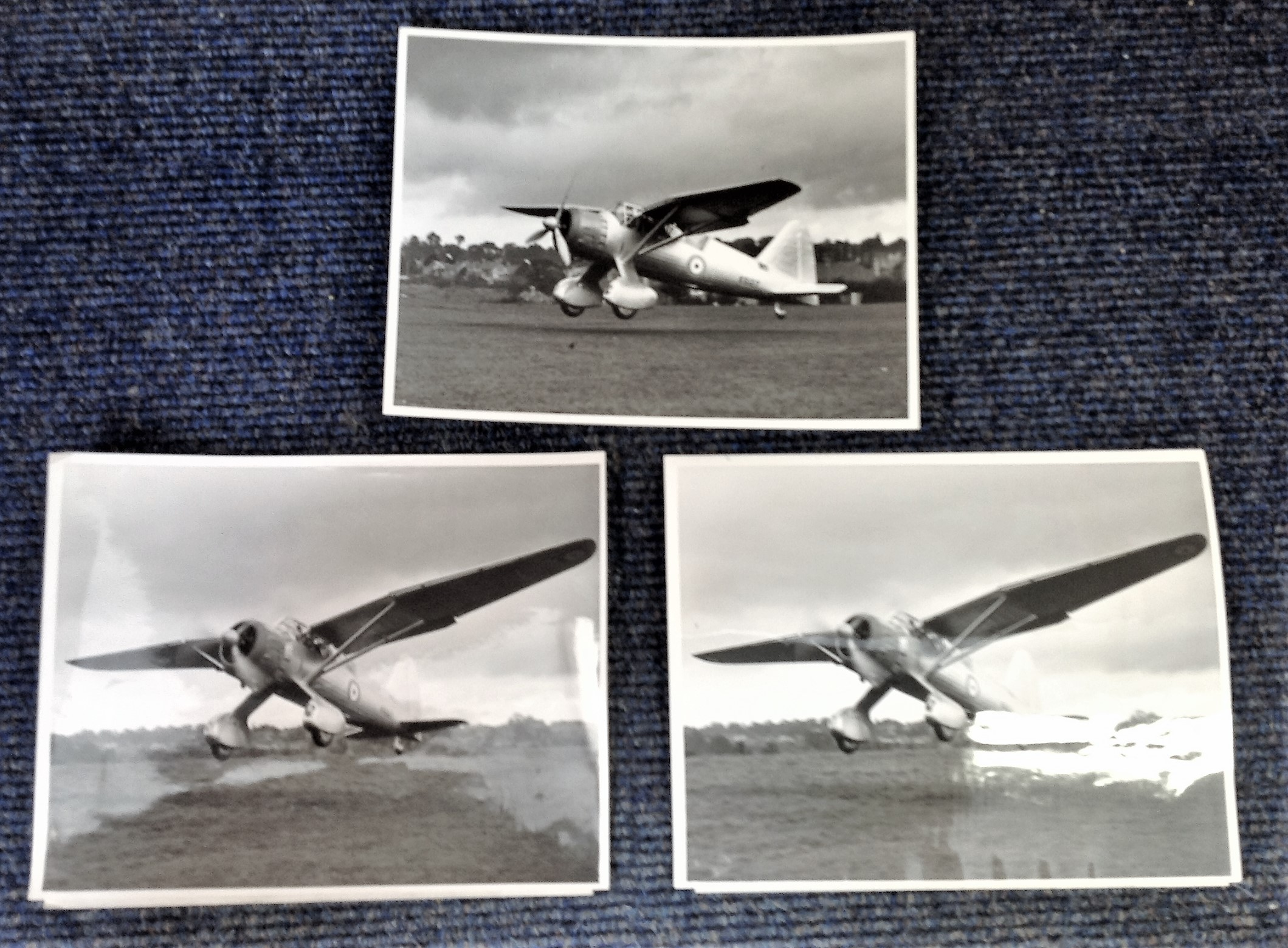 Lot 22 - Aviation collection three 7x9 vintage b/w photos picturing The Westland Lysander monoplane (