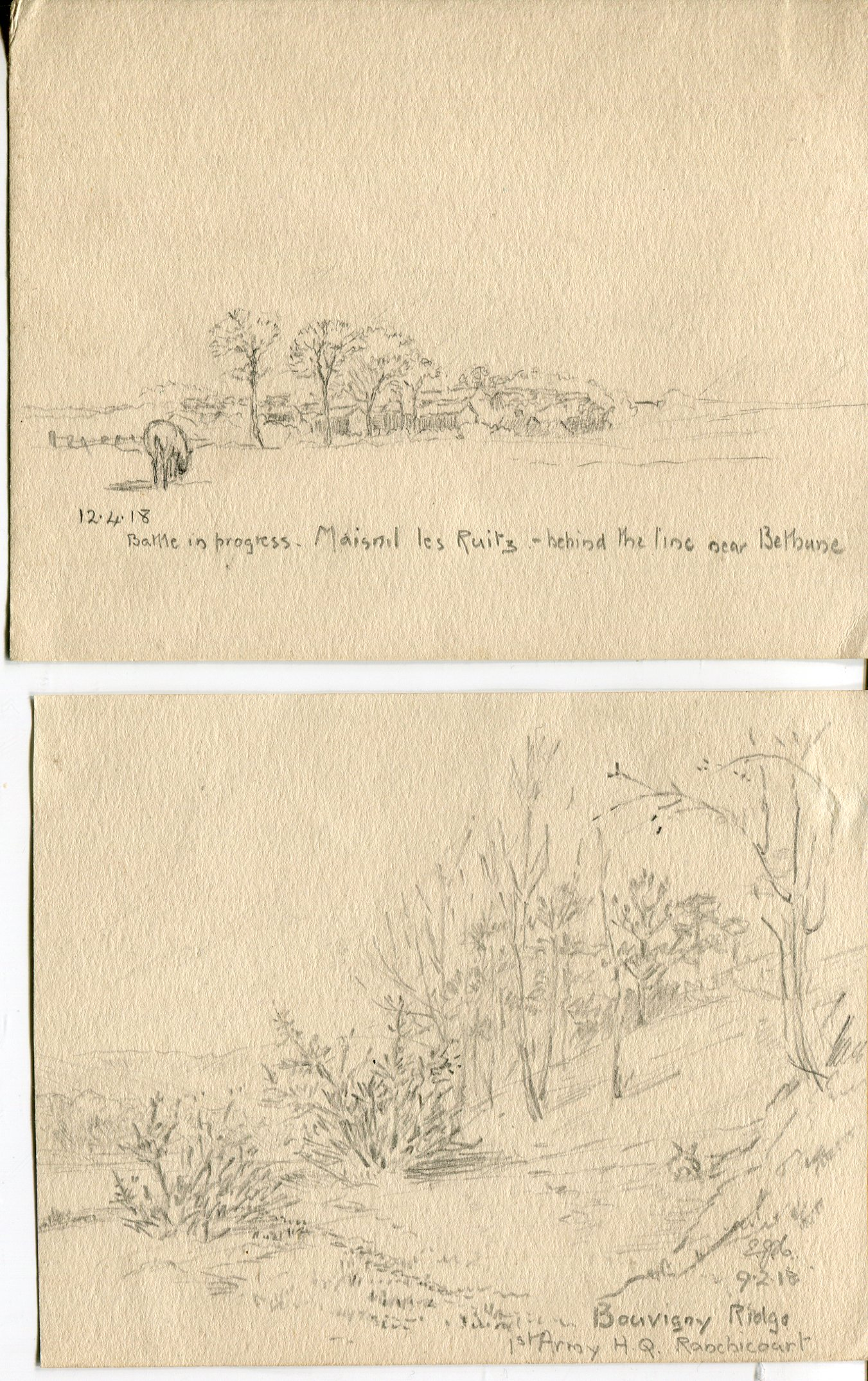 Lot 25 - Rare Great War Art Sketches A collection of SIX hand drawn sketches, done during the Great War by