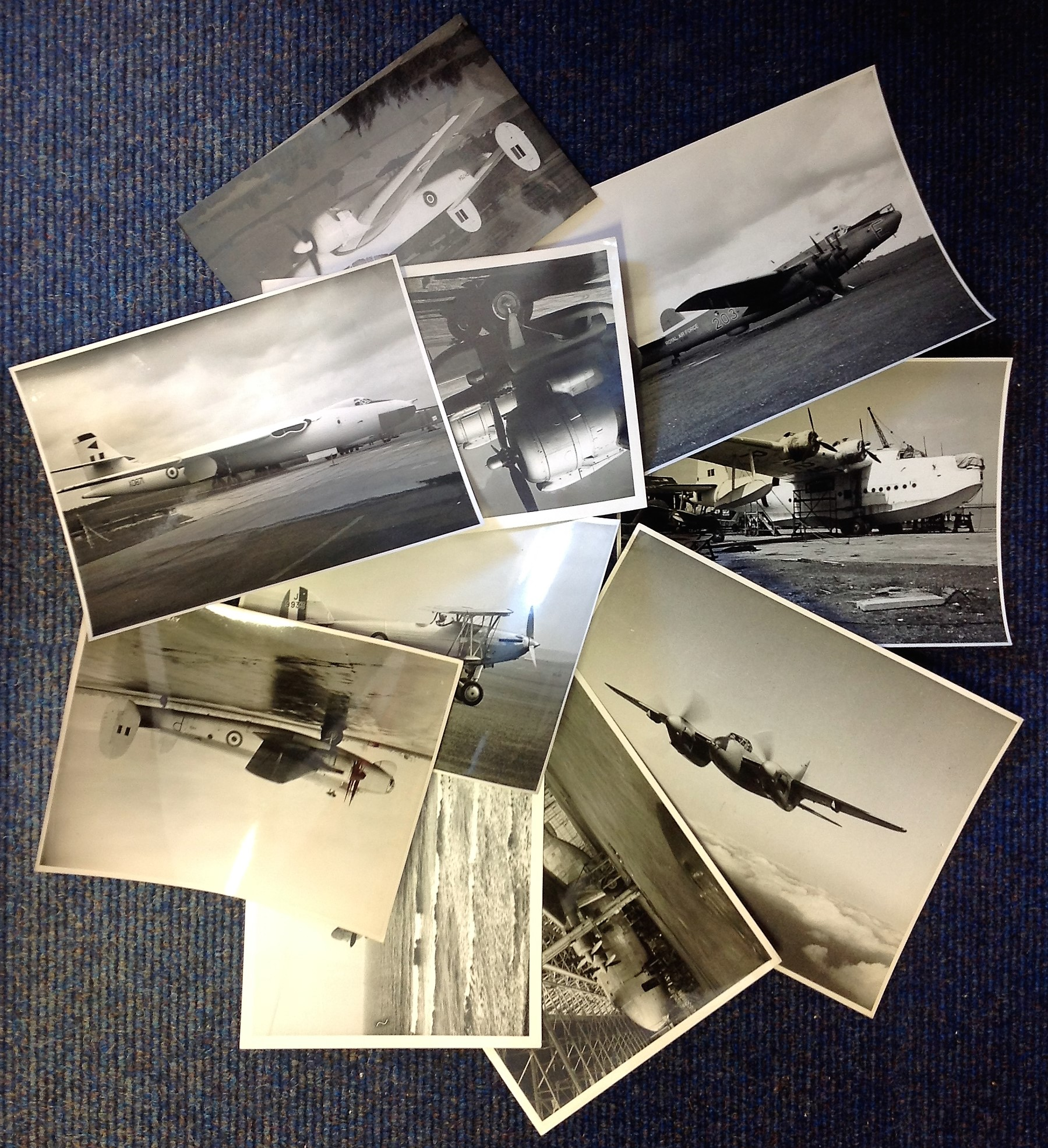 Lot 18 - RAF collection ten 7x9 vintage b/w photos picturing some of the RAF most iconic planes dating back