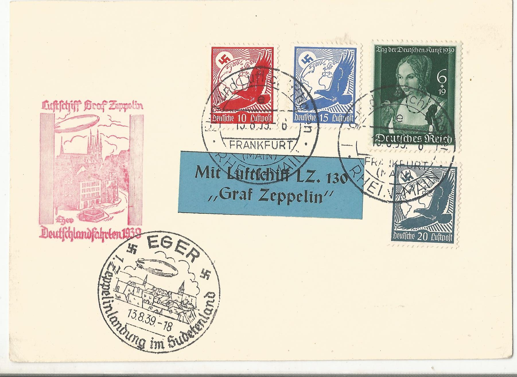 Lot 55 - 1939 LZ130 Graf Zeppelin flown cover Frankfurt postmarks and Eger Czech Republic mark. With LZ130.