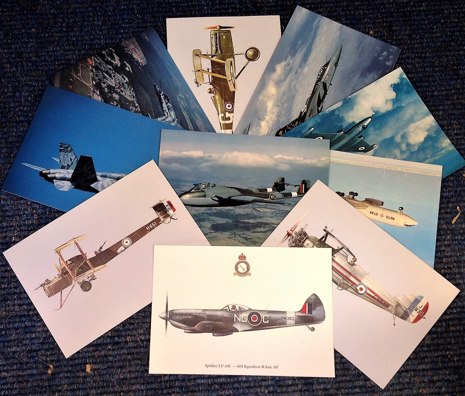 Lot 11 - Aviation postcard collection includes 10 squadron print cards such as SE5A No56 Sqn RFC, Canadian