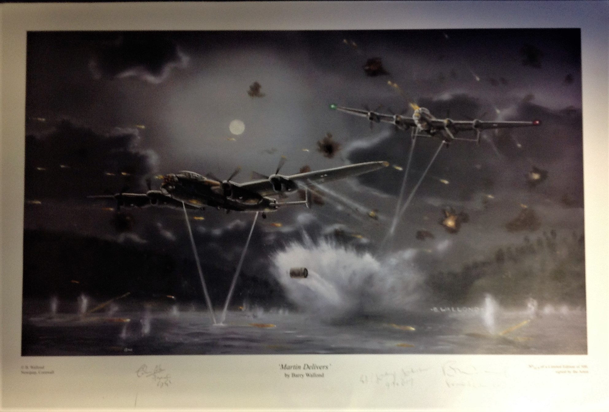 "Lot 110 - Dambuster World War Two print approx 18x26 titled ""MARTIN DELIVERS ""by the artist Barry Walford"