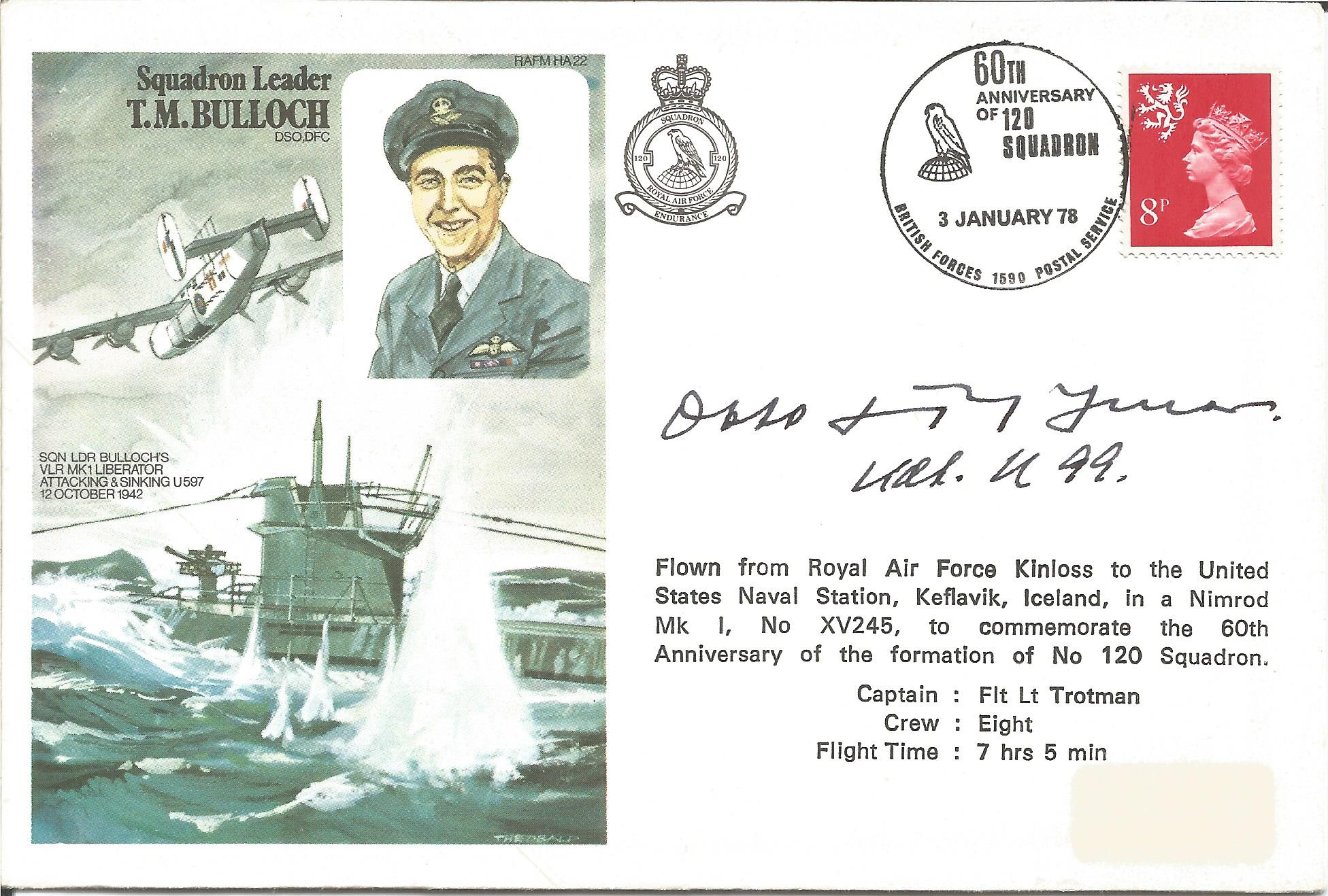 Lot 87 - Otto Kretschmer the top WW2 Uboat ace signed 1978 Sqn Ldr Terence Bulloch Historic Aviators cover.