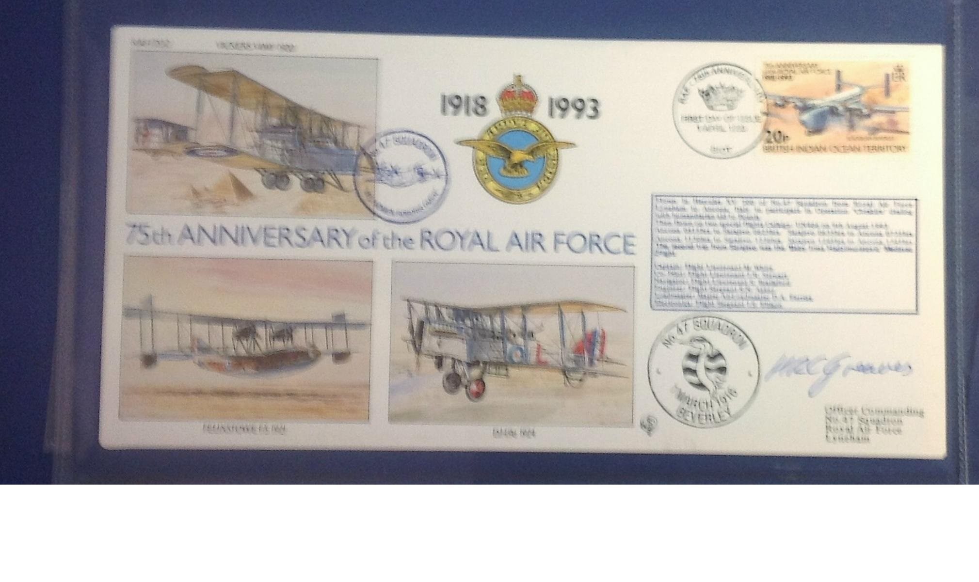 Lot 14 - 75th Ann RAF pilot signed collection. Complete set of the 30 covers in Blue Logoed RAF Album. Covers