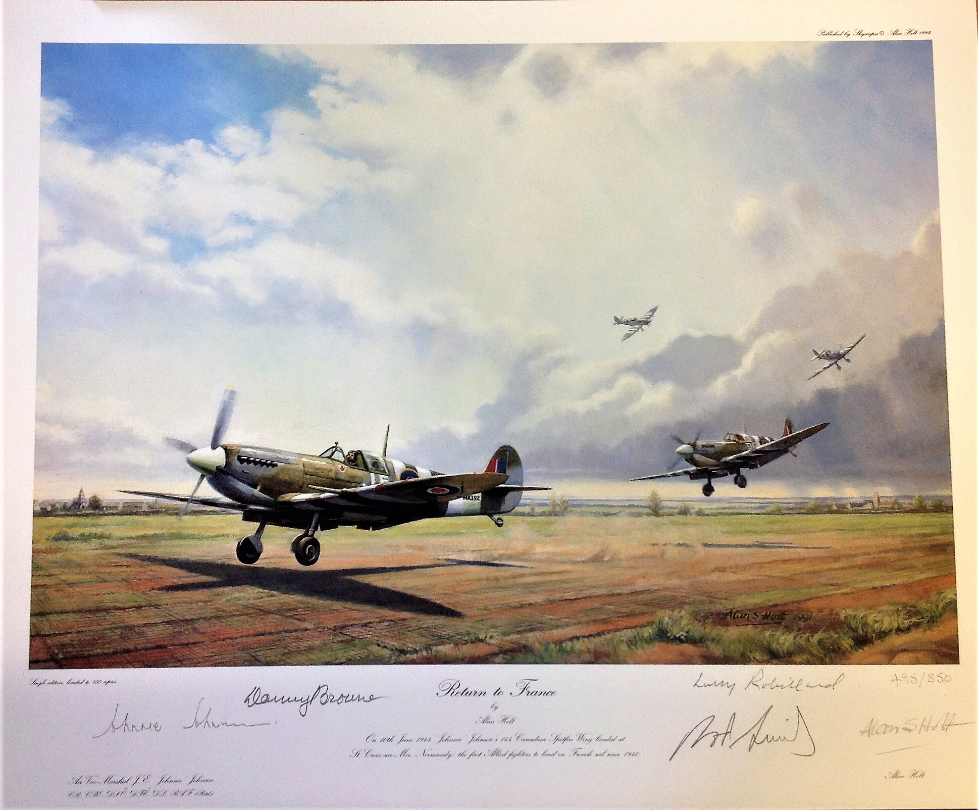 Lot 121 - World War two print approx 22x17 titled Return to France by the artist Alan Holt signed in pencil by