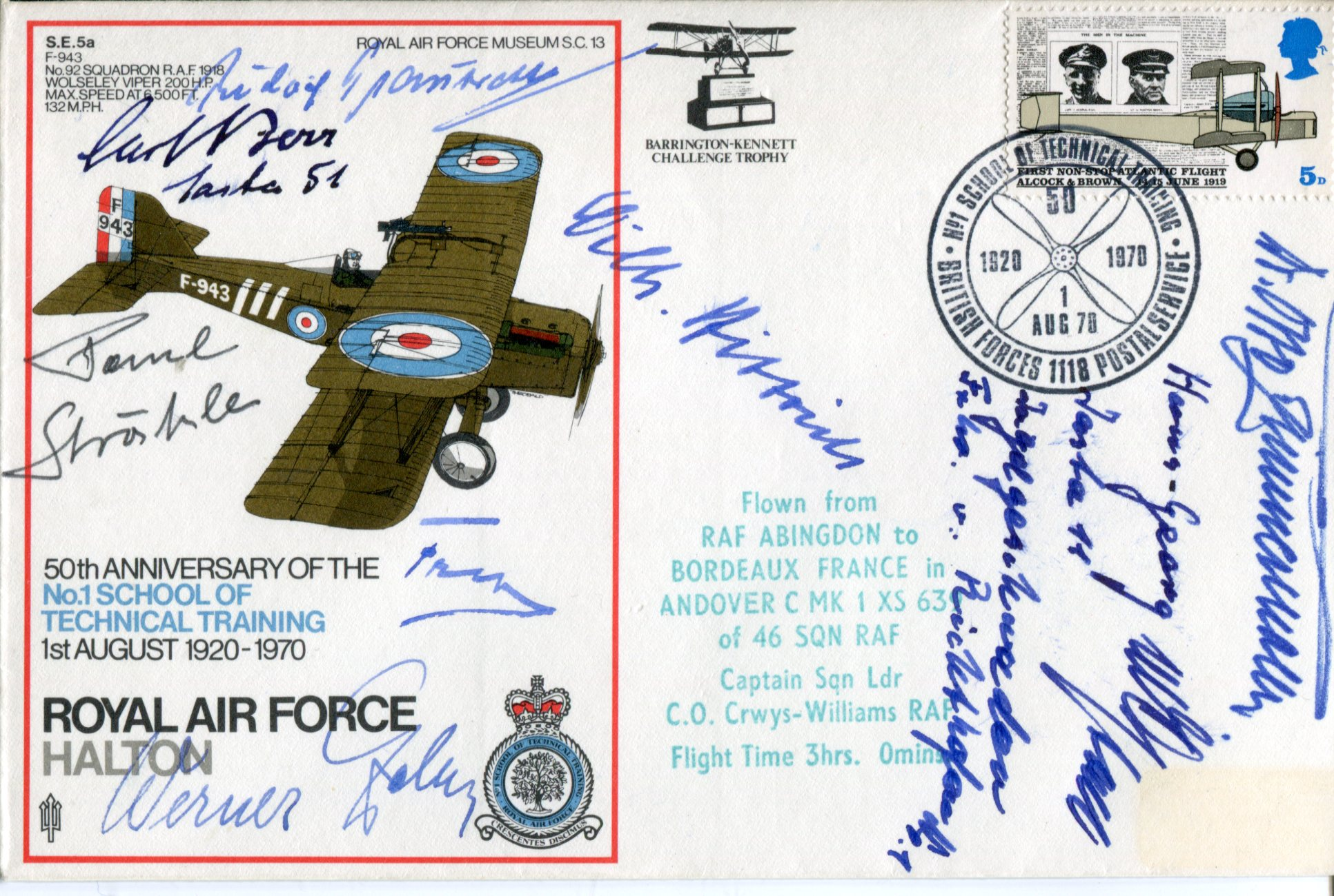 Lot 27 - WW2 Germans RAF Halton cover signed by German Great War aces Carl Berr, Paul Strahle, Rudolf