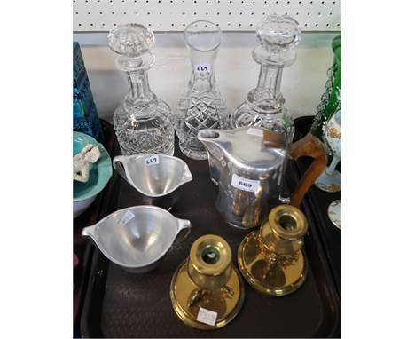 Picquot Ware hot water pot, jug and bowl, two cut glass decanters, carafe and pair of brass candlesticks Condition Report: Av