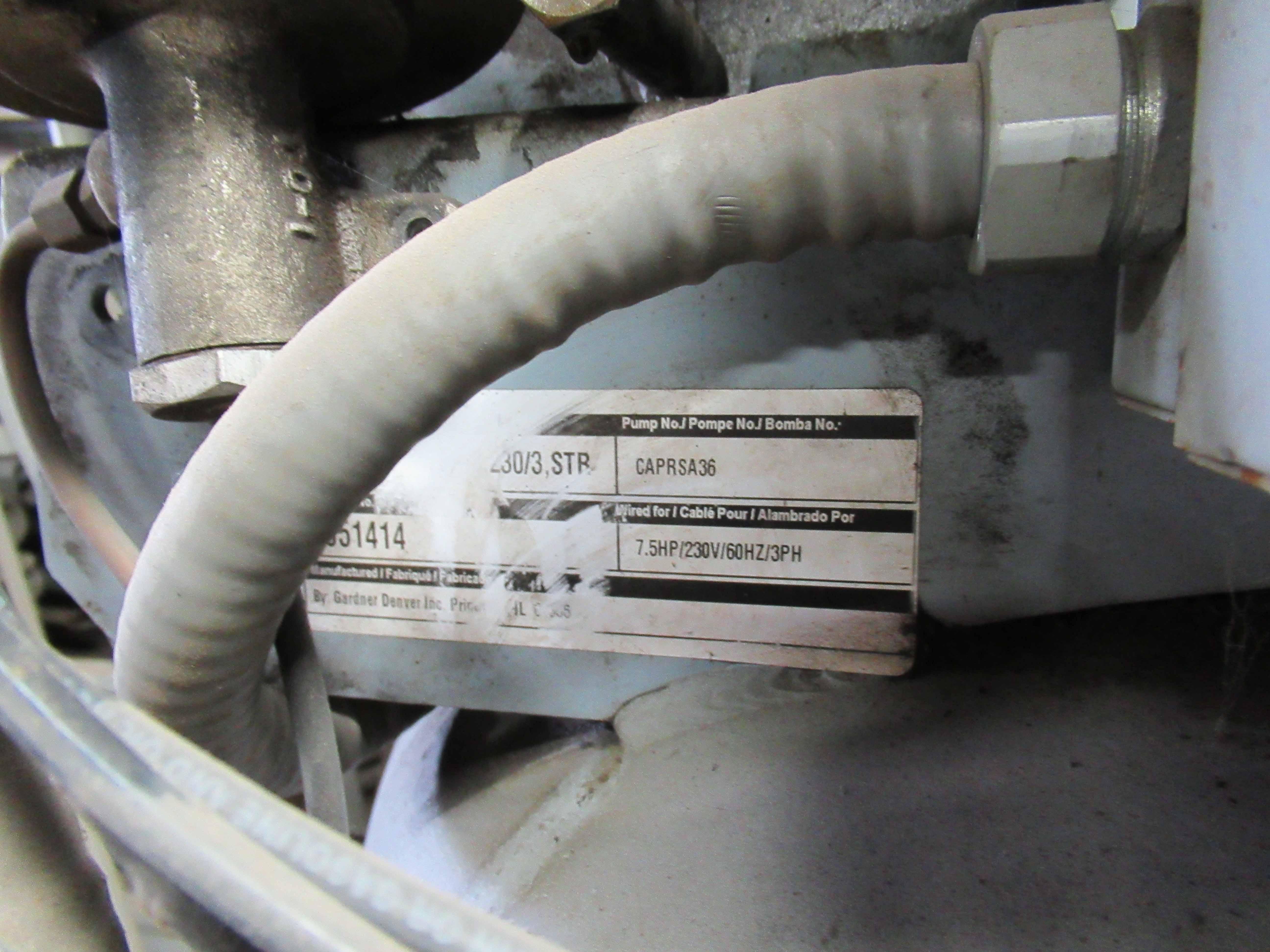 Lot 7 - GARDNER DENVER AIR COMPRESSOR, new 2007, 7.5 HP motor, Pump #CAPRSA36, 80 gal. tank. Seller will