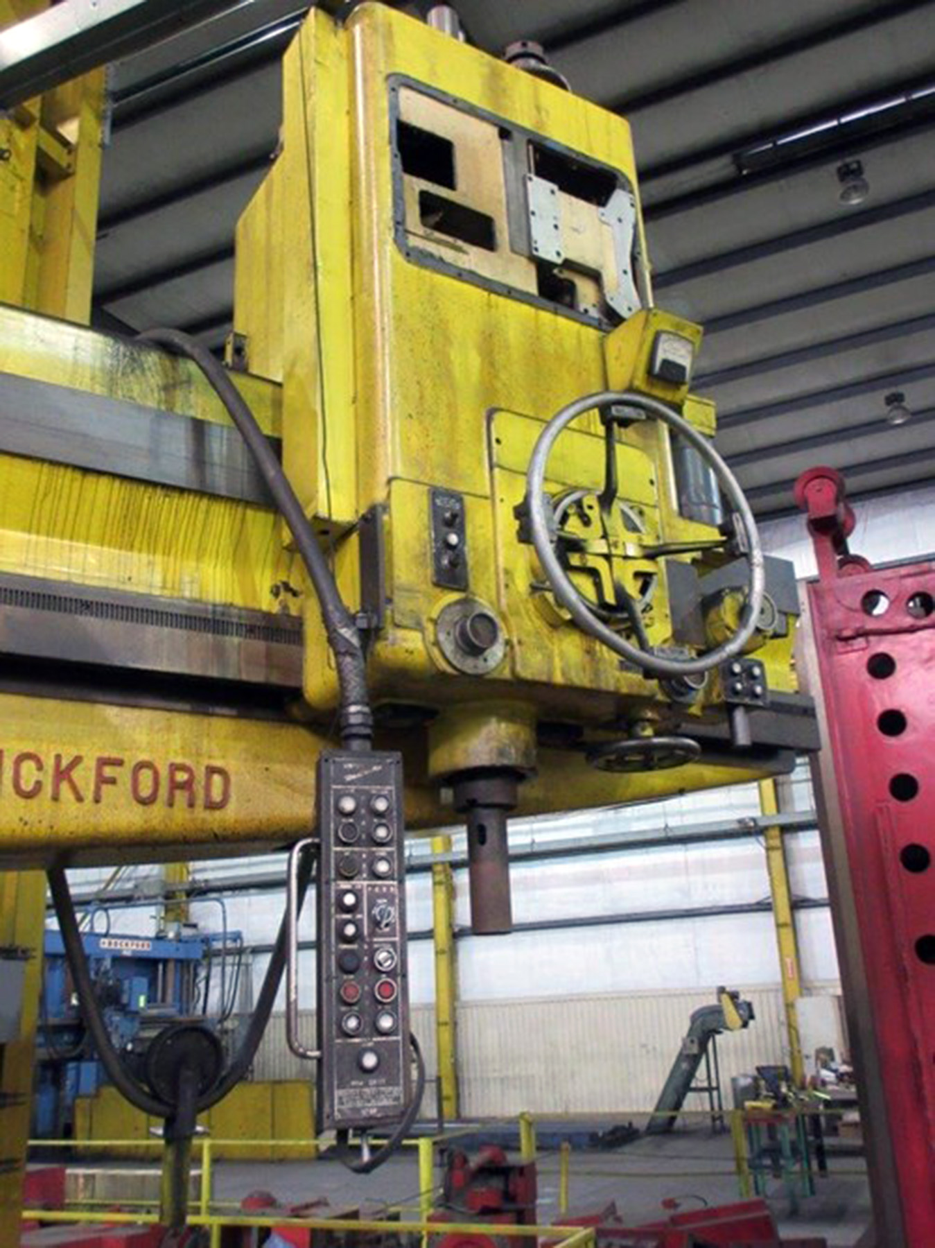 """Lot 61 - GIDDINGS & LEWIS BICKFORD 10' X 34"""" RADIAL ARM DRILL, drills to center of 240"""" circle, pendant"""