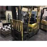 "HYSTER 6,000 LB. CAP. MDL. S60XM FORKLIFT, 2-stage mast, 151"" max. lift ht., side shift, solid"