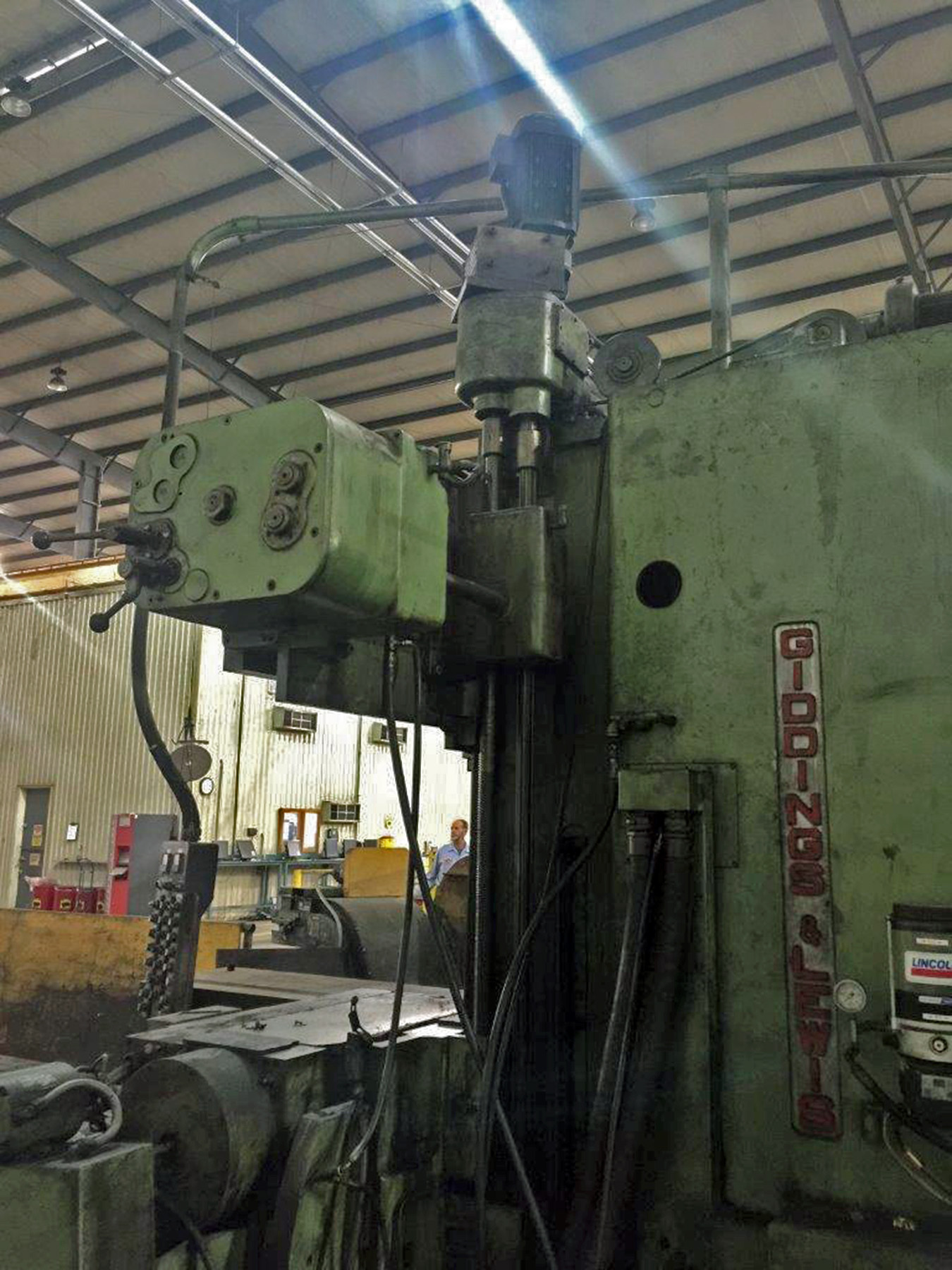 "Lot 54 - GIDDINGS & LEWIS MDL. P.T.M. HEAVY DUTY PLANER MILL, 48"" x 216"" table, 58"" dist. btn. housings, 216"""