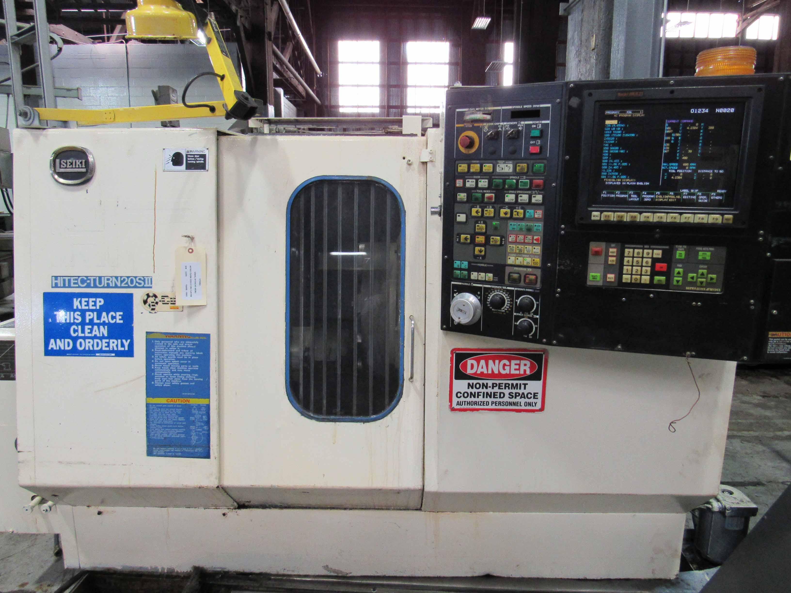 "Lot 53 - HITACHI SEIKI MDL. HITEC-TURN 20S II CNC LATHE, new 1992, Seiki Multi CNC control, 15"" sw. over bed,"