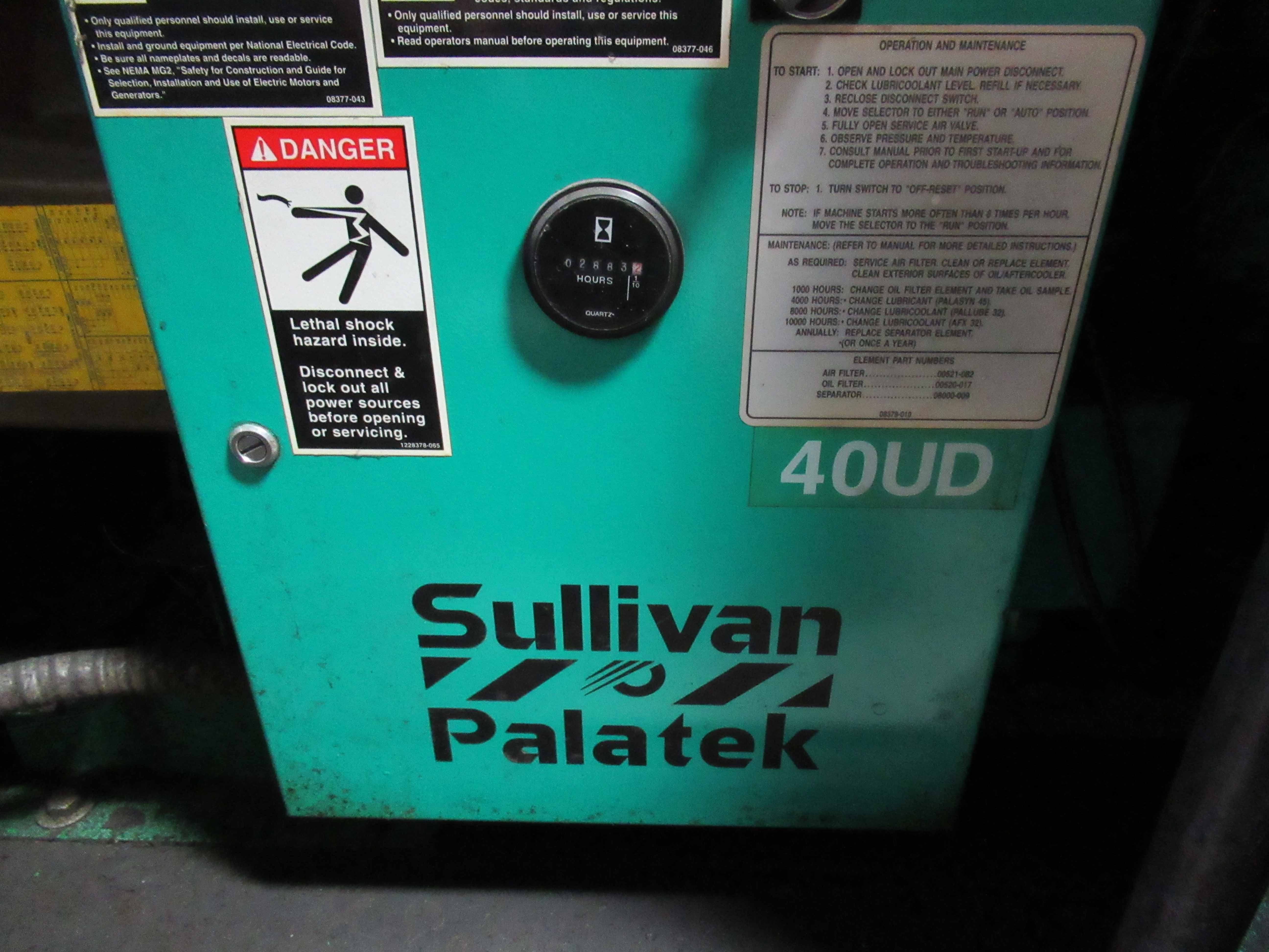 Lot 6 - SULLIVAN PALATEK 40UD ROTARY SCREW AIR COMPRESSOR, 40 HP motor. Seller will load for an additional