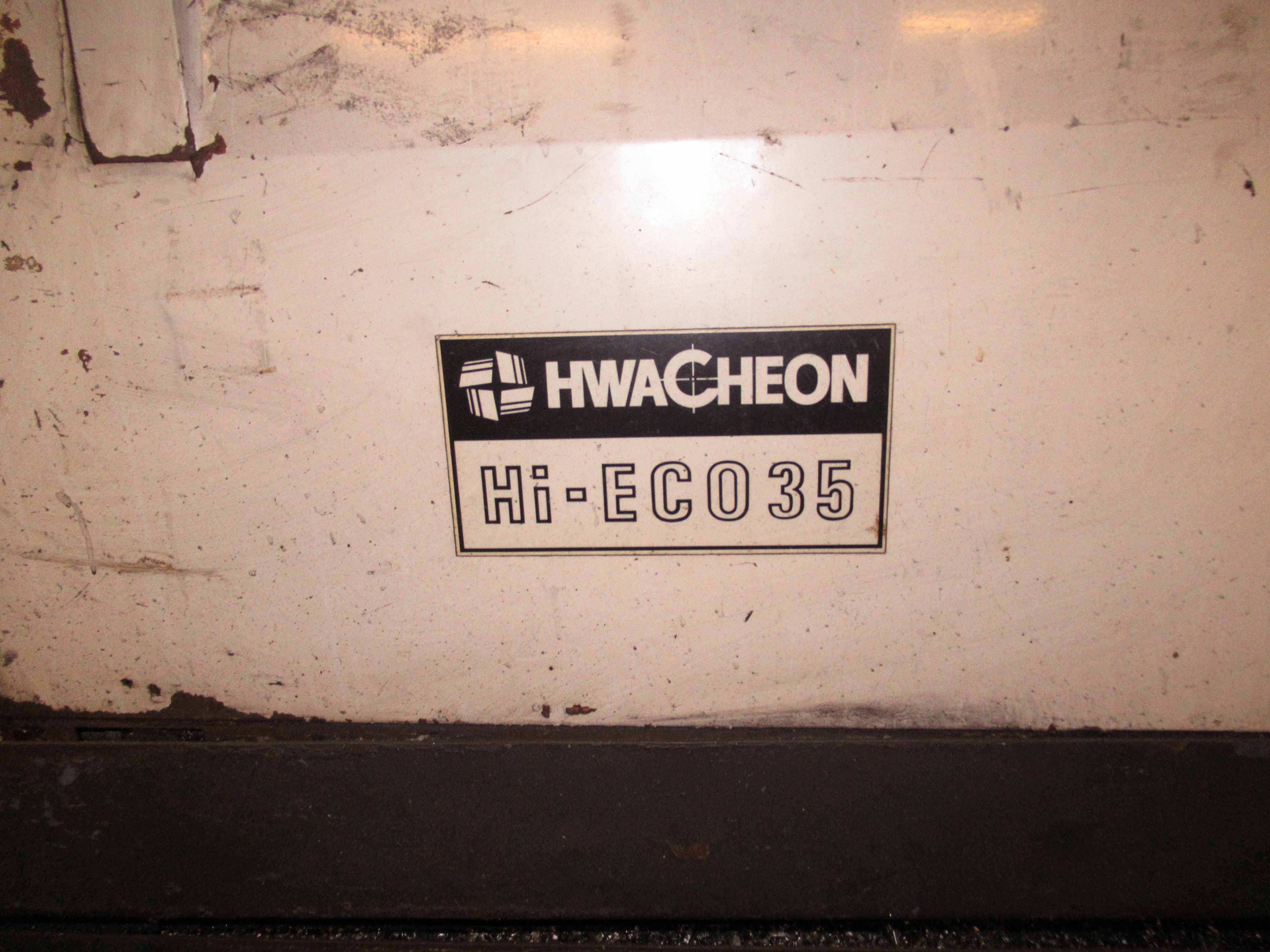 "Lot 22 - HWACHEON MDL. HI-ECO35 CNC LATHE, Fanuc 18T CNC control, 4.13"" spdl. bore, 23.62"" sw. over bed, 16."