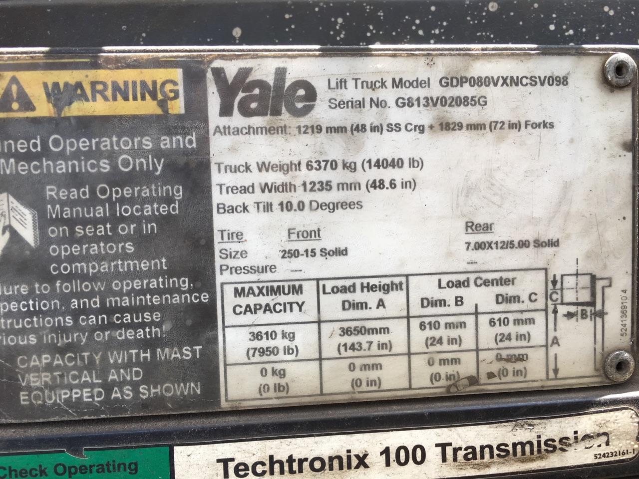 "Lot 18 - YALE 8,000 LB. CAP. MDL. GDP080VXNCSV098 FORKLIFT, 2-stage mast, 143"" max. lift ht., side shift,"