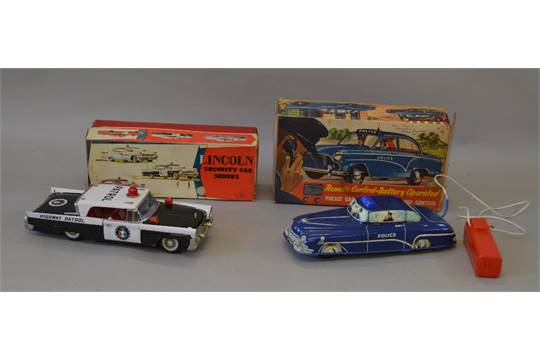 Japanese Tinplate Lincoln Police Car Together With A Welsotoys